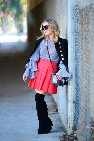 thehuntercollector blogger top skirt jacket shoes bag jewels sunglasses blouse pink skirt over the knee boots boots