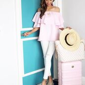 bag,luggage,louis vuitton,straw hat,white,pink,light pink,off the shoulder,pink luggage,pink bag,ruffle,travel,vacation outfits,vacation style,vacation fashion,blogger,fashion blogger,travel blogger,vacation blogger,eslifeandstyle,resortstyle,resort looks