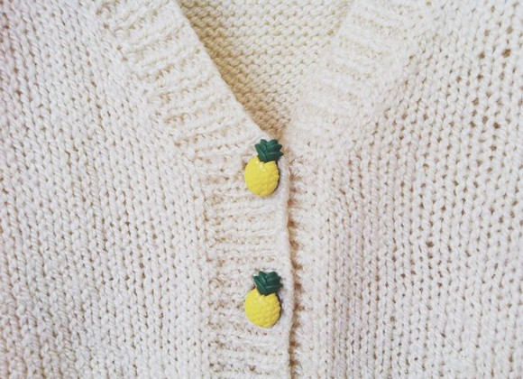 white buttons sweater pineapple knit tumblr fashion