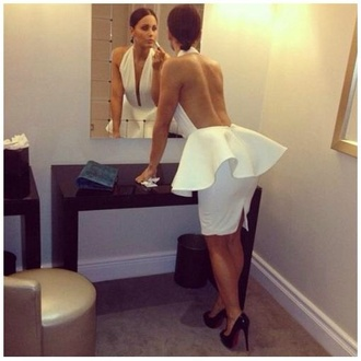 dress white backless dress sexy chest cutout