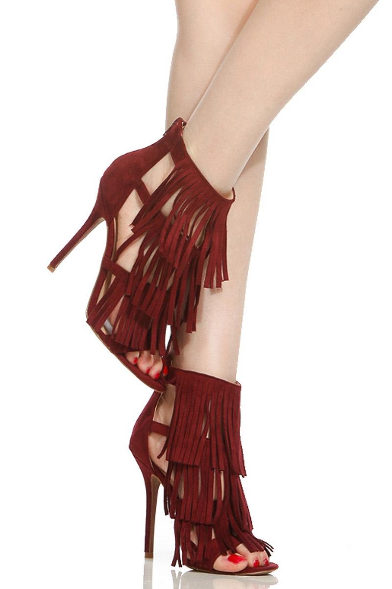950ab9731b5b Wine Faux Suede Fringe Single Sole Open Toe Heels   Cicihot Heel Shoes  online store sales Stiletto ...
