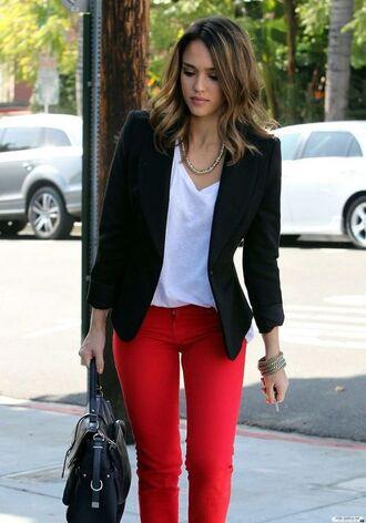 jeans red jeans top white top jessica alba blazer black blazer celebrity style celebrity bag black bag