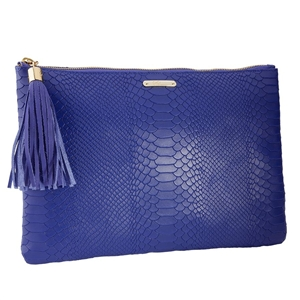 Indigo Uber Clutch | Embossed Python Leather | GiGi New York