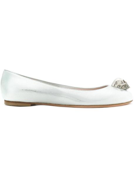 Alexander Mcqueen skull women leather grey metallic shoes