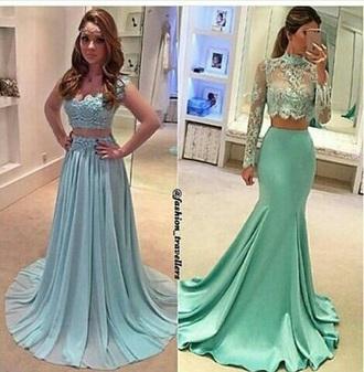 dress prom dress cute teal two piece dress set