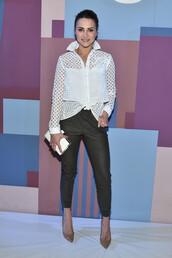 blouse,fashion week 2016,pants,pumps,andi dorfman,mesh top,mesh,NY Fashion Week 2016