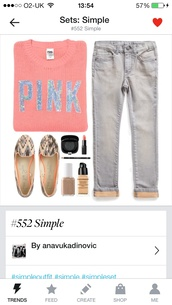 sweater,pink by victorias secret,jeans,shoes,victoria's secret