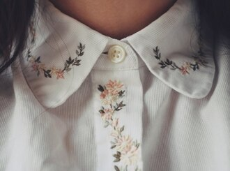 blouse collar flowers floral broderies bottoms white kitchie vintage cute shirt button up embroidered floral blouse hipster colar white blouse bohemian nature plants pretty collared shirts intricate button top leaves