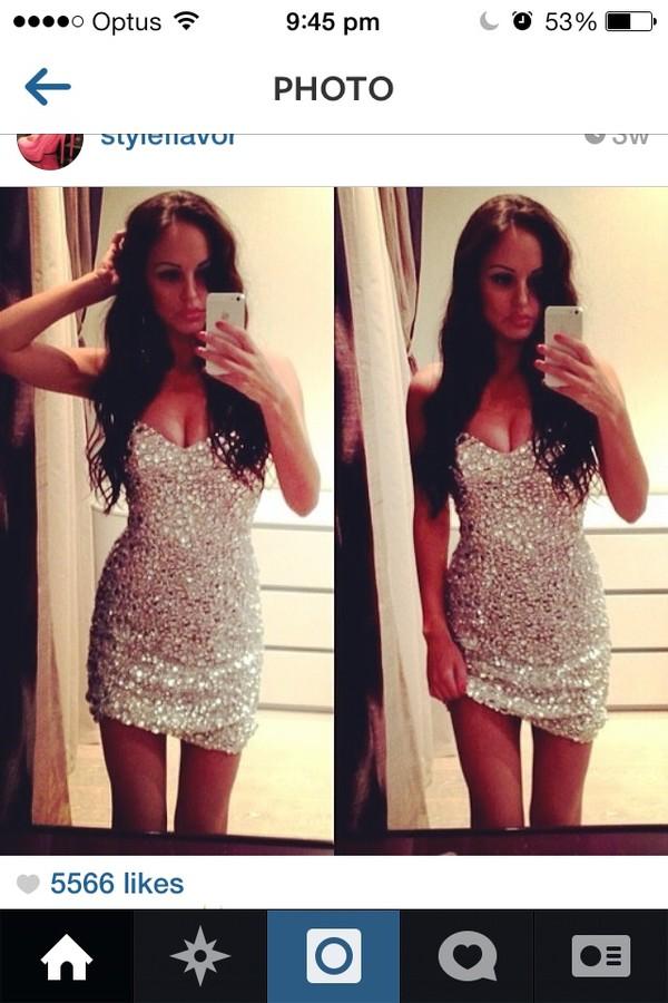 dress silver sequin short dress