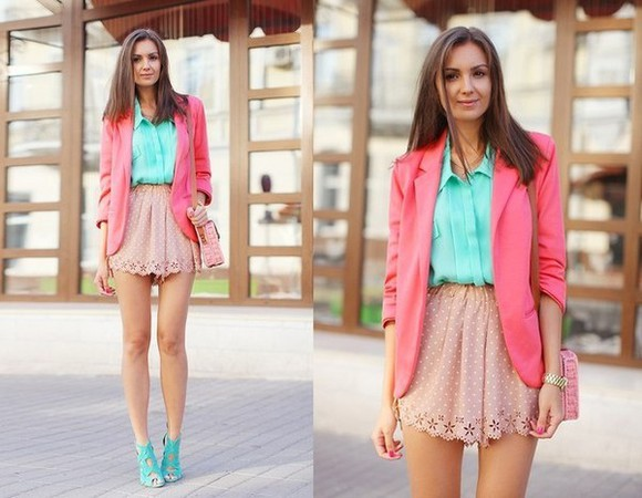 polka short pink blouse skirt