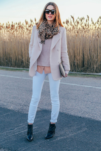 prosecco and plaid blogger scarf sunglasses baby pink light blue skinny pants leopard print pink coat pouch pastel