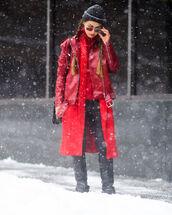 jacket,tumblr,red jacket,leather jacket,nyfw 2017,fashion week 2017,fashion week,streetstyle,coat,red coat,beanie,black beanie,pants,black pants,black leather pants,leather pants,sweater,red sweater