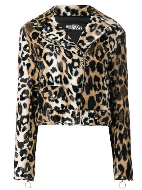 jeremy scott jacket biker jacket women cotton print brown leopard print