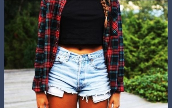 blouse tartan shorts blue turtleneck crop tops shirt shorts plaid shirt distressed high waisted jeans top High waisted shorts flannel shirt