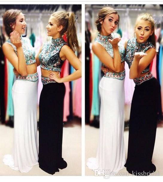 Discount 2015 Popular Two Pieces Long Beaded High Neck Detachable Sheath/Column Floor-length Chiffon Prom Dresses Online with $124.97/Piece | DHgate