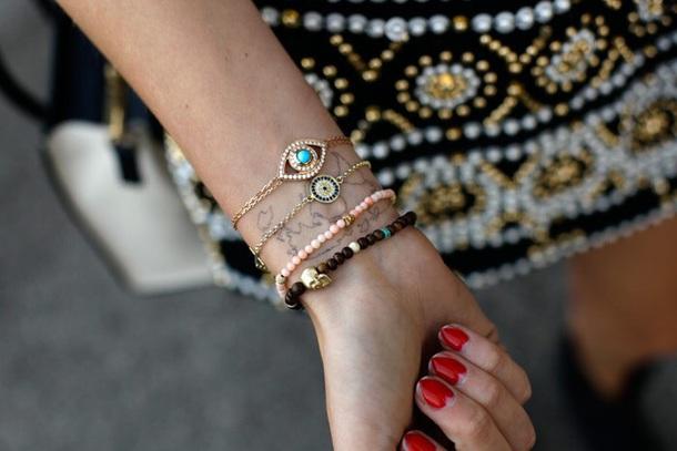 jewels chiara ferragni bracelets stacked bracelets evil eye accessories evil eye jewelery evil eye gold gold jewelry gold bracelet