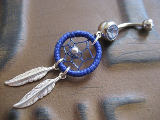 jewels blue dream catcher feathers belly button ring belly button ring dreamcatcher diamonds