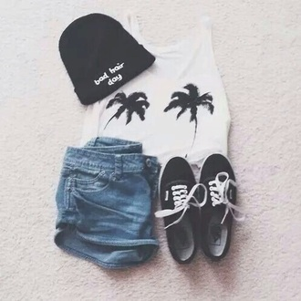 top palm top tank cute palm tree print tank top white crop tops cue fall outfits