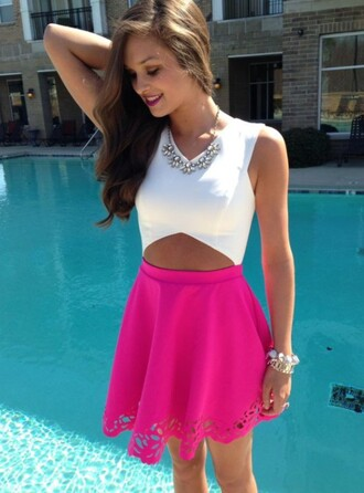 dress skater dress style fashion preppy cut out crop top cute dress cut-out dress white dress pink dress summer dress