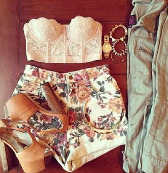 shorts floral floral shorts with crop tops top jumpsuit blouse