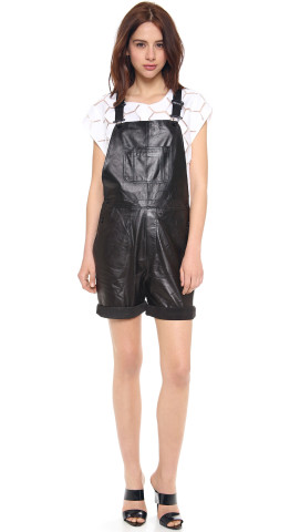 Milly Leather Short Overalls | SHOPBOP | Keep.com