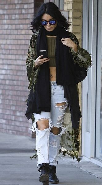 jeans ripped jeans vanessa hudgens cardigan top crop tops