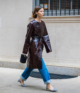 coat tumblr leather coat bag handbag denim jeans blue jeans cuffed jeans shoes streetstyle