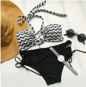 swimwear girly girl girly wishlist two-piece swimwear two piece rose wholesale bikini sunglasses summer stripes hipster tumblr strappy gamiss black and white style beach black trendy fashion hot
