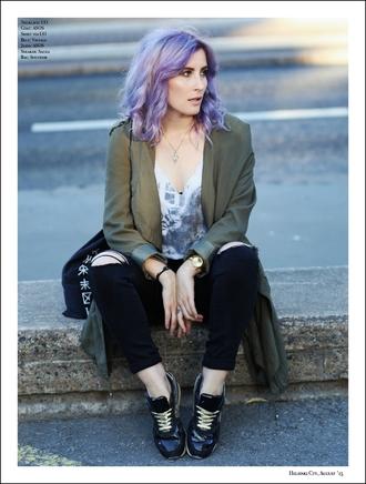 like a riot blogger coat black ripped jeans duster coat khaki