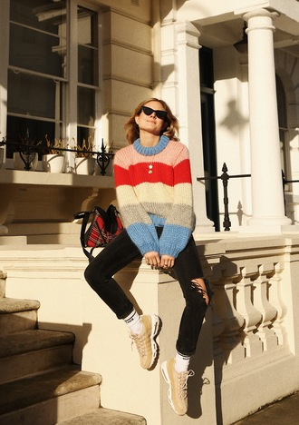 fashion me now blogger jeans sweater socks bag sunglasses dress jacket jewels winter outfits sneakers multicolor sweater black jeans