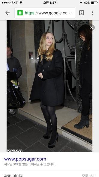 coat blackcoat amanda seyfried celebrity style black coat