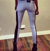 jeans,kendall jenner,black and white,two toned