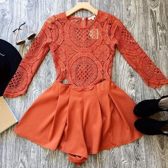 romper orange lace long sleeve romper romper shorts