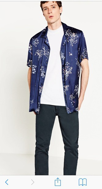 blouse blue floral mens shirt blue shirt shirt