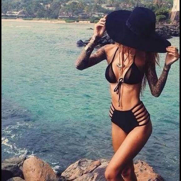 sun summer outfits style beach outfit swimwear bikini bukini black swimwear