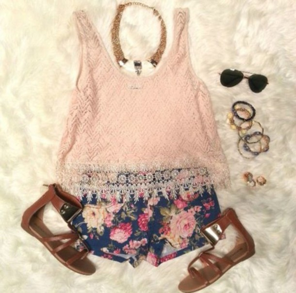 tank top shirt pink shorts flowered flowers sunglasses shoes sandals bracelets necklace ring
