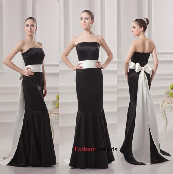 6588bbcb77 dress gorgeous mermaid sweep train black satin white belt cheap long prom  dress evening dress bridesmaid