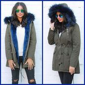 coat,one nation clothing,parka,khaki parka,blue parka,blue fur,fur parka,fur collar,fur hood coat,green parka,fur lined jacket,coloured fur coat,fur lined parka coat