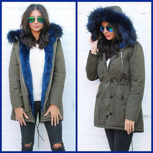 Coat: one nation clothing, parka, khaki parka, blue parka, blue ...