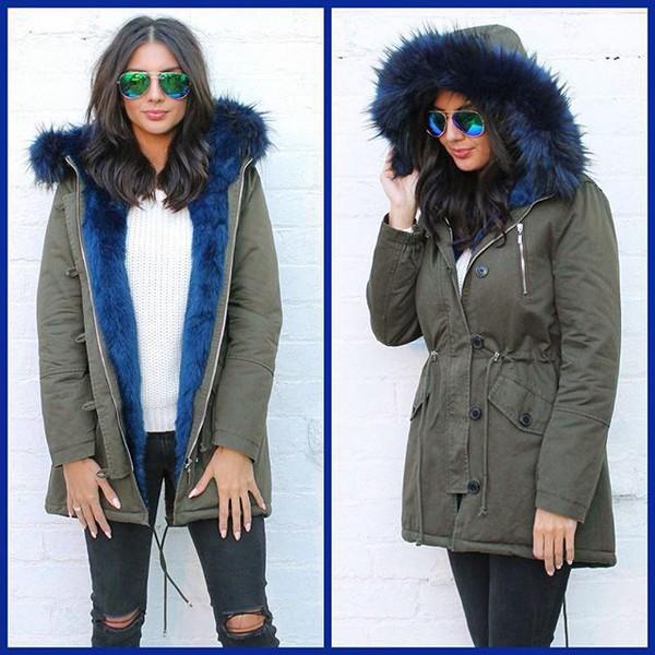 Tanya Full Faux Fur Trim Parka in Khaki Green with Blue