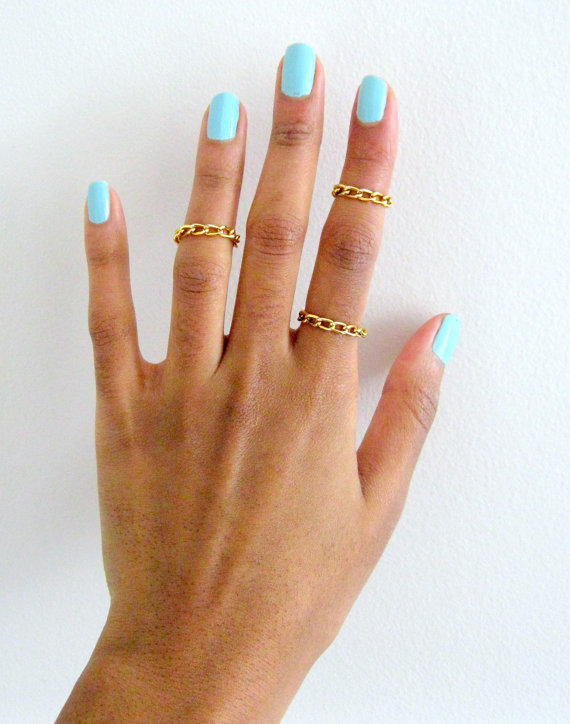 Shiny Gold Chain Rings Women and Teens Stocking Stuffers by FDLM