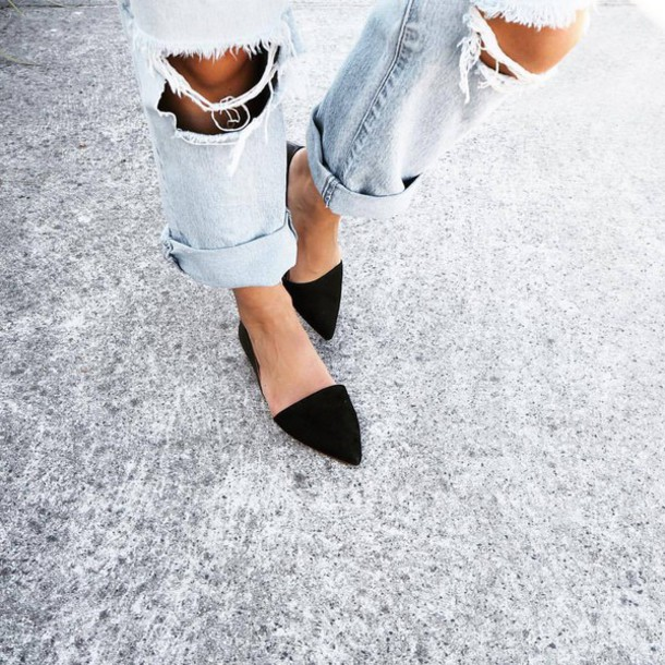 4749b9d2b627 shoes flats black shoes cuffed jeans ripped jeans pointed toe light blue  light blue boyfriend jeans