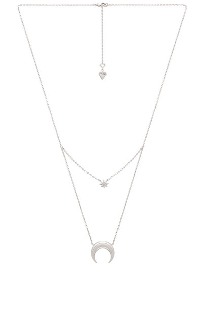 Wanderlust + Co Crescent & Star Layered Necklace in metallic / silver