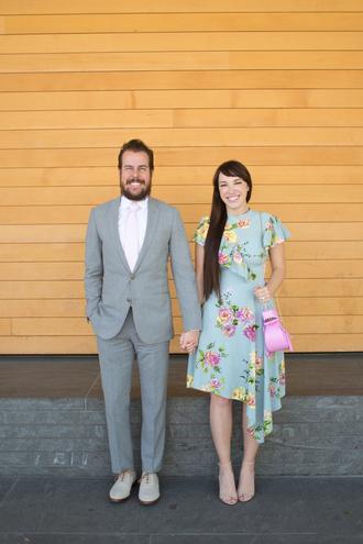 kelsey bang blogger shirt shoes dress make-up bag blue dress floral dress sandals high heel sandals menswear mens suit mens shoes