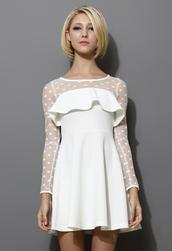 dress,white,polka dots,mesh dress
