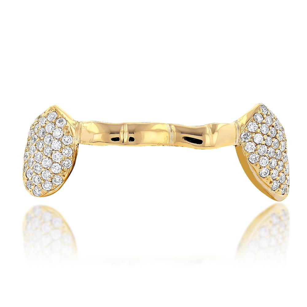 18k yellow gold diamond beyonce style grillz 0.85ct