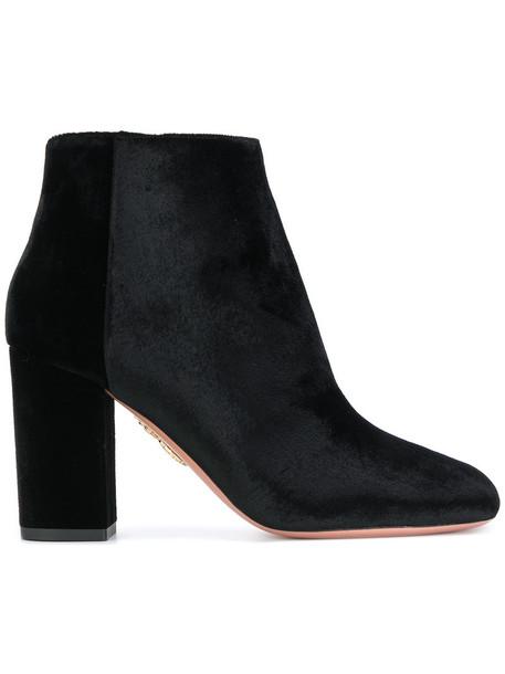 Aquazzura women brooklyn boots leather black velvet shoes