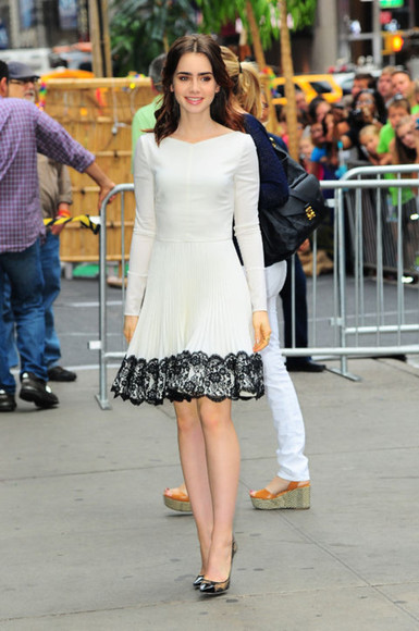 lily collins skirt