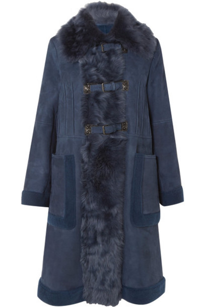 Bottega Veneta coat fur faux fur navy suede