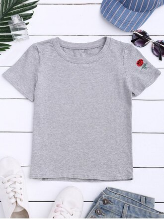t-shirt grey roses summer spring embroidered casual zaful